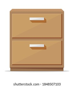 Bedroom locker furniture interior isolated. Empty filing cabinet. Closed wood box. Wooden stand for storing items. Modern flat cabinet drawer cartoon element. Flat vector illustration