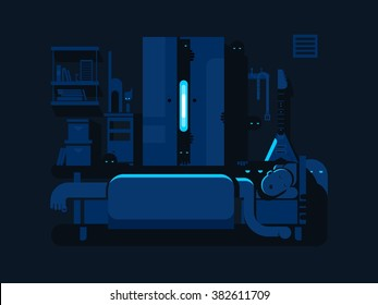 Bedroom mystic flat design
