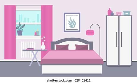 Bedroom in pink colors. Vector illustration