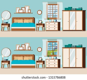 Bedroom set with furniture and window view of winter and summer lake landscape. Wardrobe, bed, nightstand, chest of drawers, watch, alarm clock. lamp, books. Flat style cartoon vector illustration.
