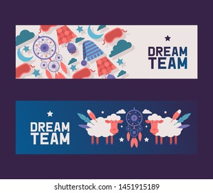 Bedroom supplies set of banners vector illustration. Evening sky with sheep and dream catcher among clouds, stars and moon. Night equipment concept. Sleeping mask and hat.