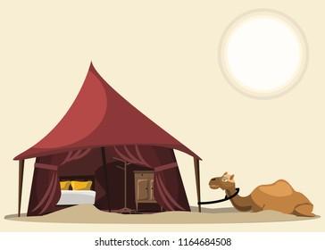 bedroom tent and camel in desert vector illustration