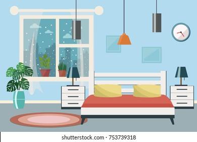 Bedroom Vector flat illustration