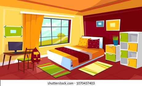 Bedroom vector illustration of teenager girl or boy room interior background. Cartoon flat design of teen student room furniture bed, computer on desk table, drawer shelf and school backpack on chair