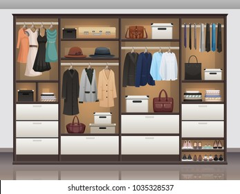 Bedroom wardrobe closet storage with interior organizers shoe racks and hanging rails for clothes realistic vector illustration