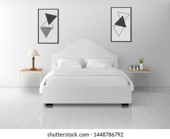 Bedroom white interior, modern home or hotel empty apartment with double king size bed, nightstands with lamp and alarm clock, luxury bedchamber indoor design. Realistic 3d vector illustration