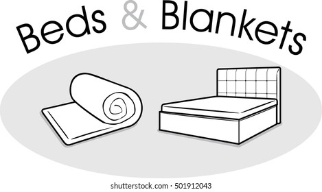 Beds and blankets. Vector