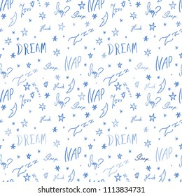 Bedsheets design pattern. Sleepy doodle - sleep time vector texture with handwritten words.