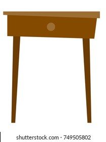 Bedside brown wooden table with drawer vector cartoon illustration isolated on white background. Piece of furniture for home and office.