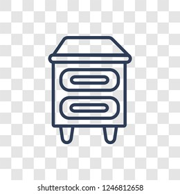 Bedside table icon. Trendy linear Bedside table logo concept on transparent background from Furniture and Household collection