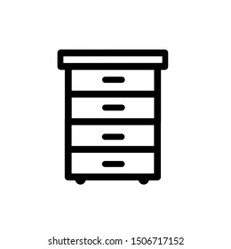 Bedside table icon, vector illustration. Flat design style. vector bedside table icon illustration isolated on white background, bedside table icon Eps10.