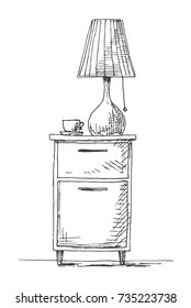Bedside table with a lamp. Vector illustration in sketch style.