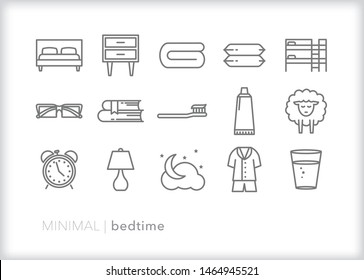 Bedtime line icon set for the routine of getting ready for sleep