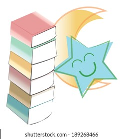 Bedtime Stories submitted - Pastel books are stacked next to a yellow-orange quarter moon and smiling turquoise  star.