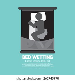 Bed-Wetting Black Graphic Symbol Vector Illustration