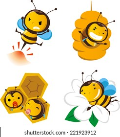 Bee action set 2, featuring cute bees doing bee stuff.