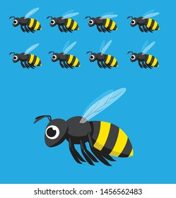 Bee Animation Flying Cartoon Vector Illustration