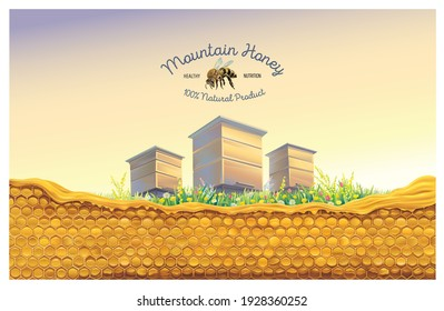 Bee apiary in the rural landscape with honeycomb in the foreground and a symbolic illustration of a bee as a design element