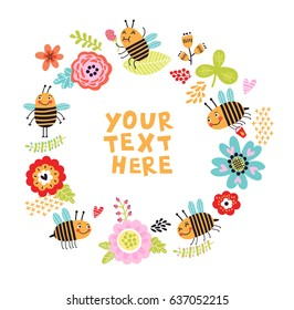 Bee background with flowers. Frame for text