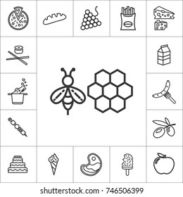 bee and beeswax. line food icon set on white background