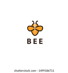 Bee bold flat logo design- vector illustration