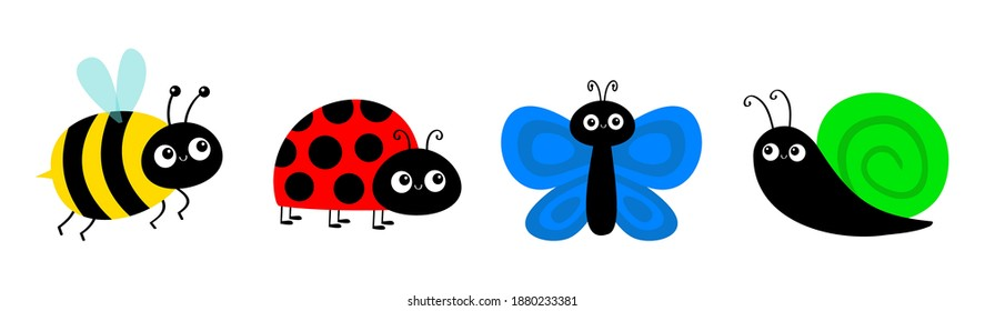 Bee bumblebee, butterfly, snail cochlea, lady bug ladybird flying insect icon set. Cute cartoon kawaii funny baby character. Ladybug. Happy Valentines Day. Flat design. White background. Vector