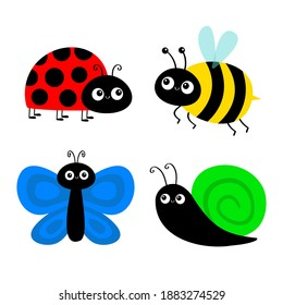 Bee bumblebee, butterfly, snail cochlea, lady bug ladybird flying insect icon set. Ladybug. Cute cartoon kawaii funny baby character. Happy Valentines Day. Flat design. White background. Vector