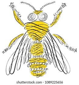 Bee in calligraphic line art