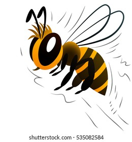Bee. Cartoon character. White background. Vector illustration.