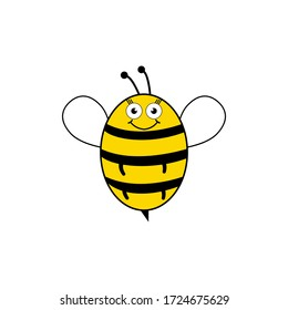 Bee cartoon cute vector illustration isolated on a white background