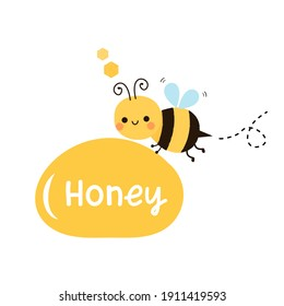 Bee cartoon with honey drop and lettering icon sign isolated on white background vector illustration. Cute cartoon character.