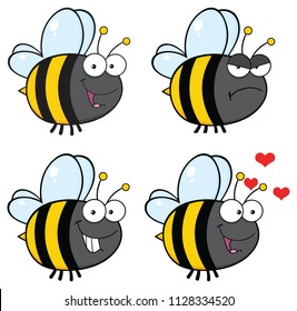 Bee Cartoon Mascot Character Set 2. Vector Collection Isolated On White Background