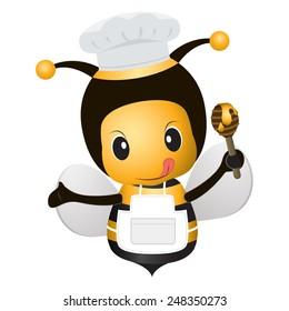 Bee Chef Cartoon vector