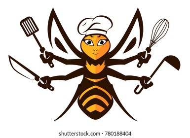 Bee Chef Logo Design. Chef Cook Holding Spatula, Knife, Kitchen spoon and Whisk. Vector Character. Cartoon Bee Mascot.