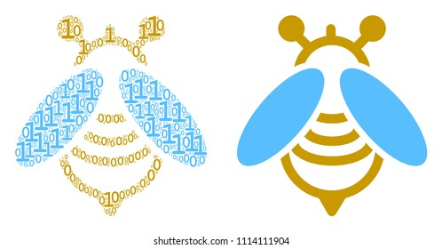 Bee collage icon of zero and null digits in different sizes. Vector digit symbols are composed into bee composition design concept.