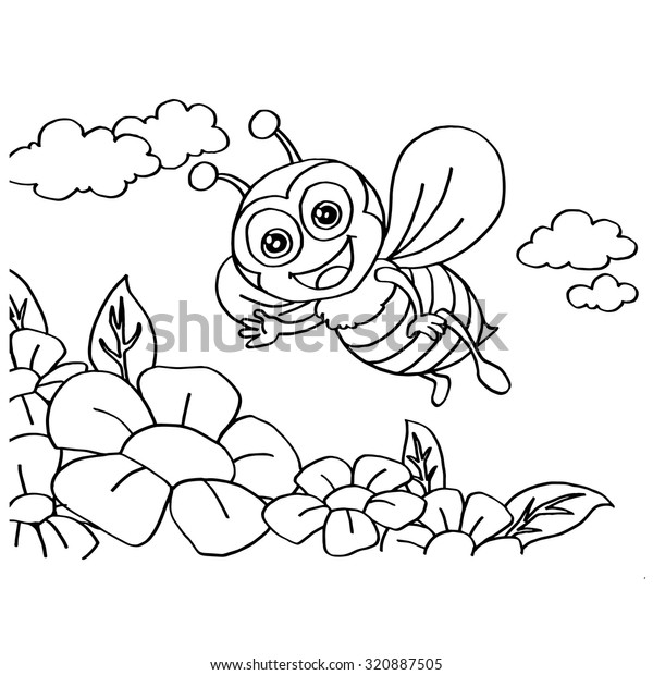 Bee Coloring Pages Vector Stock Vector Royalty Free 320887505