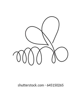 Bee continuous line drawing element isolated on white background for logo or decorative element. Vector illustration of insect form in trendy outline style.