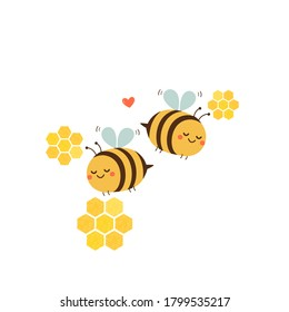 Bee couple with abstract honeycomb isolated on white background vector illustration. Funny cartoon character.