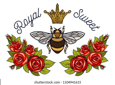 Bee crown flowers embroidery patch roses red. Honey bee bumblebee floral leaf wings Insect embroidery. Hand drawn vector illustration