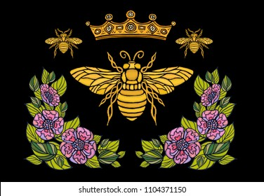 Bee crown flowers embroidery patsh. Honey bee bumblebee floral leaf wings Insect embroidery. Hand drawn vector illustration