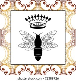 bee with crown - full pattern behind