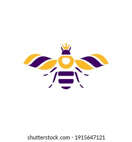 bee with crown logo, icon and illustration