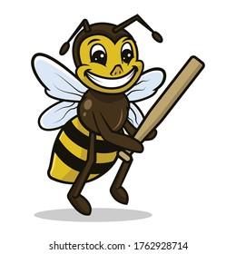 Bee cute mascot sport related design