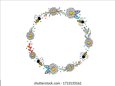 bee and daisy ring frame design fashion style vector stationory