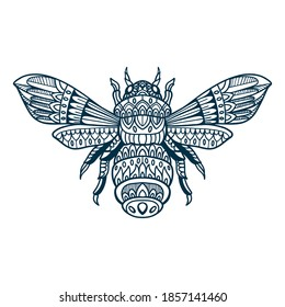 bee doodle hand drawn vector illustration
