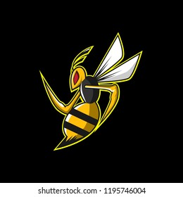 bee esport logo design vector graphic