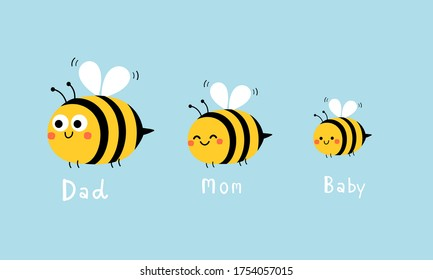 Bee family, cute flying bees isolated on blue background vector illustration. Wear fashion print, funny cartoon character.