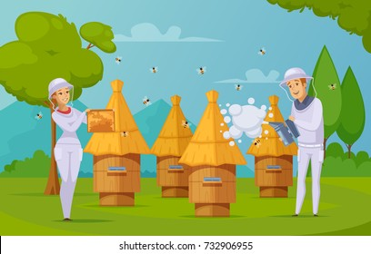 Bee farm apiary honey harvesting cartoon composition poster with beekeepers using smoker and holding honeycombs vector illustration