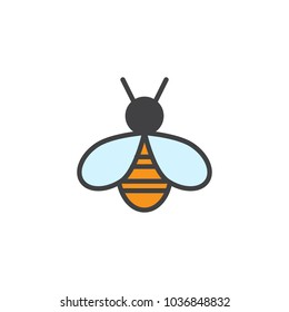 Bee filled outline icon, line vector sign, linear colorful pictogram isolated on white. Honeybee symbol, logo illustration. Pixel perfect vector graphics