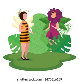 bee and flower fairies with leaves plants